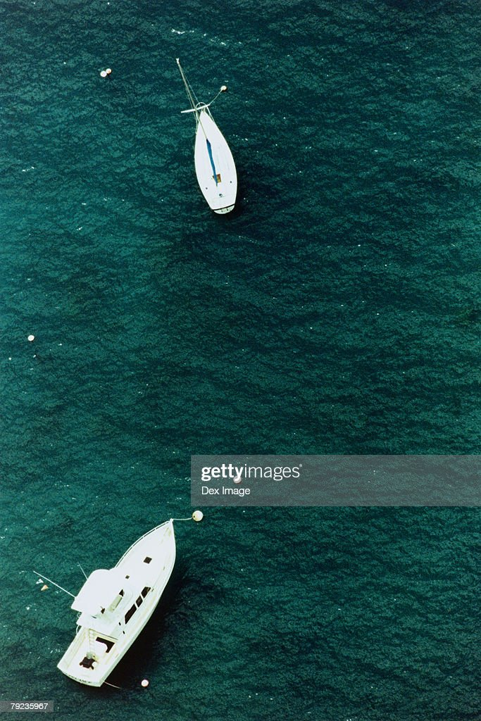 Motor boats on ocean, aerial view, Hawaii, USA : Stock Photo