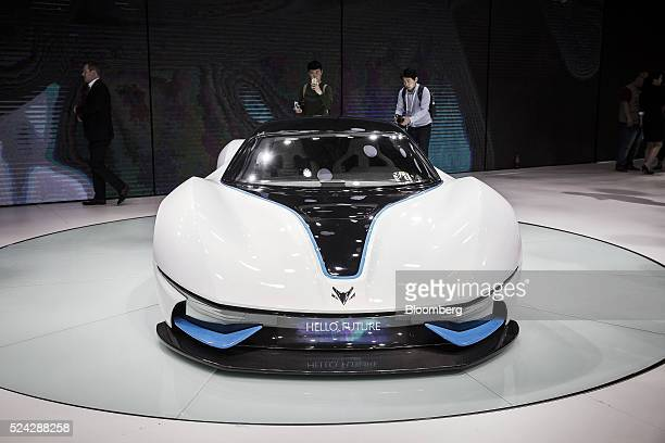 Motor Corp Arcfox7 concept electric vehicle stands on display at the Beijing International Automotive Exhibition in Beijing China on Monday April 25...