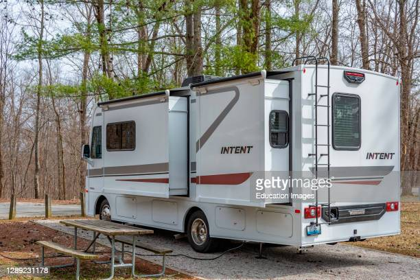 Motor home camping at Carter Caves State Park in Kentucky.