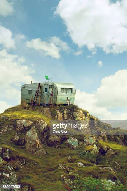 motor home on hill in green landscape - run down stock pictures, royalty-free photos & images