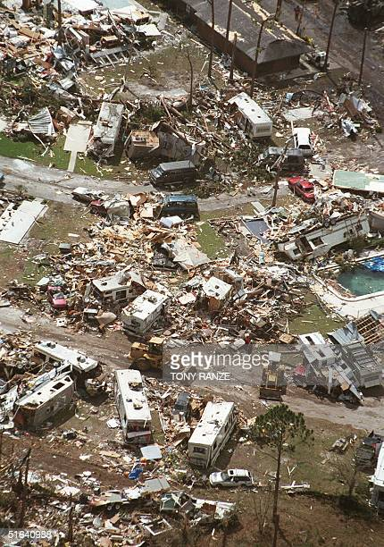 A motor home park lies in ruins 23 February in Kissimmee following overnight tornadoes in central Florida At least 43 people were killed after 12...
