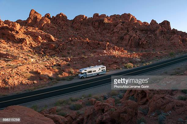 Motor home parked along road in Valley of Fire State Park, Nevada, USA