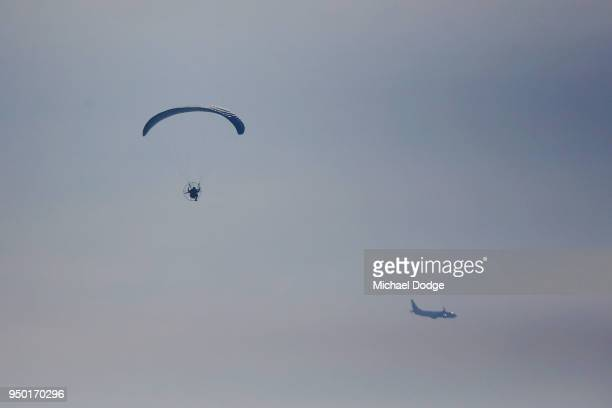 A A motor propelled glider is polited along the StKilda foreshore on April 23 2018 in Melbourne Australia Melbourne has been experiencing...