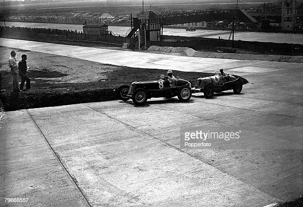 Motor Racing 2nd May 1937 Brooklands Surrey Britains Raymond Mays in the ERA holds off the challenge of Prince Biras Maserati en route to winning the...
