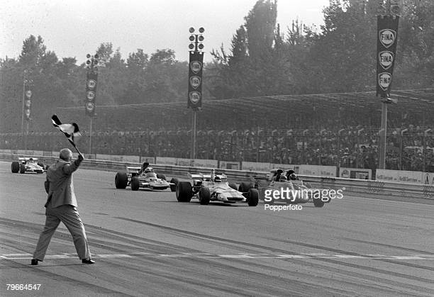 Motor racing Italian Grand Prix Monza Italy 5th September 1971 Great Britain's Peter Gethin in a BRM car beats Sweden's Ronnie Peterson to win the...