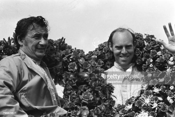 Motor Racing Le Mans France 14th June 1970 British driver Dick Attwood and German driver Hans Hermann after winning the 24 Hour Le Mans Endurance car...
