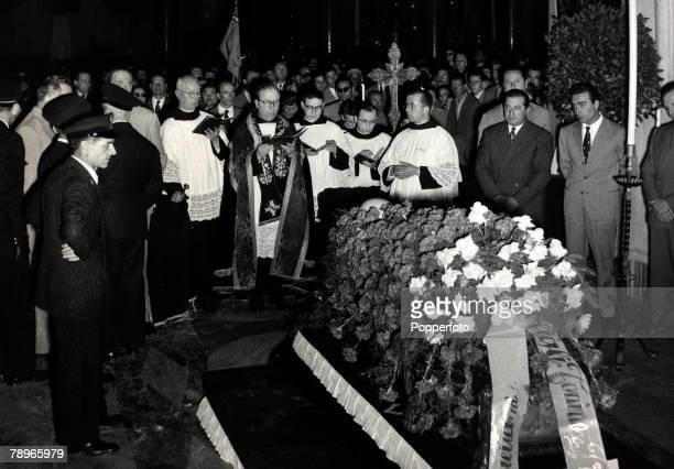 27th May 1955 The coffin of Italian motor racing ace Alberto Ascari in Milan Alberto Ascari 19181955 won the world championship in 1952 and 1953...