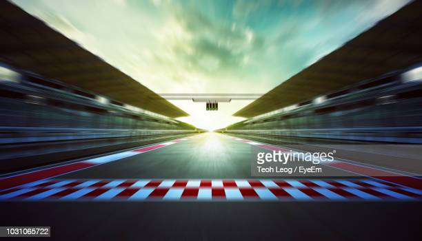 motor racing track against sky during sunset - racerbana bildbanksfoton och bilder