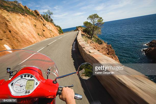 Motor scooter driver point of view, French Riviera