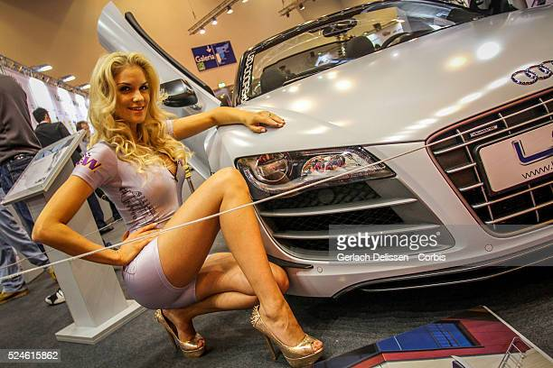 Motor Show promotion girl posing at the 2013 Essen Motor Show in Germany November 29th 2013
