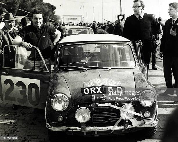 18th January 1966 Monte Carlo British driver Paddy Hopkirk left and his codriver Henry Liddon pictured with their Austin Mini Cooper at the time they...