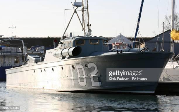 Motor Torpedo Boat 102 tied up at Oulton Broad Lowestoft Suffolk