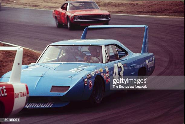 Motor Trend 500 NASCAR Riverside Richard Petty in his Plymouth Superbird leads Sam Posey in his Dodge Charger