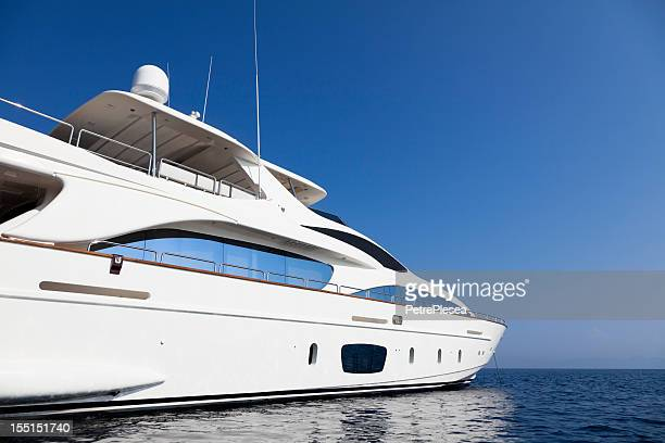 motor yacht. perfect shape. summer. - luxury yacht stock pictures, royalty-free photos & images