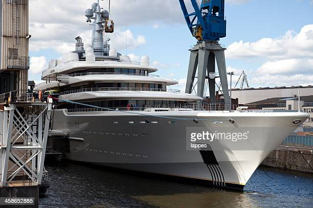 motor yacht - shipyard stock pictures, royalty-free photos & images