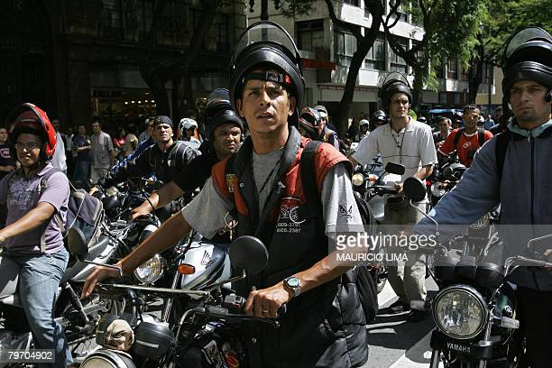 Motorbike couriers protest across downtown Sao Paulo Brazil on February 11 2008 Around 100 motorbike couriers or motoboys as they are called staged a...
