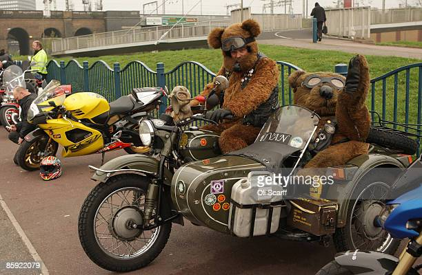 Motorbike enthusiast Bob 'The Bear' Farquhar poses on his motorbike and sidecar parked at the Ace Cafe London prior to the annual 'Southend...