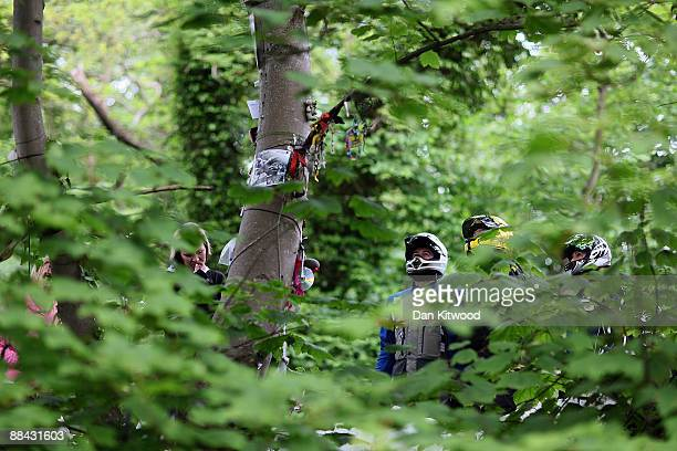 Motorbike fans read messages at Fairy Bridge on June 5 2009 in Douglas Isle of Man Many believe the superstition that requires riders to visit the...