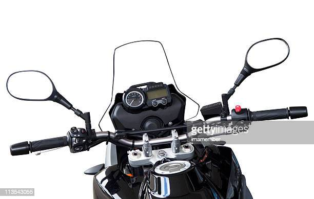 Motorbike handlebars and reversing mirros isolated on white