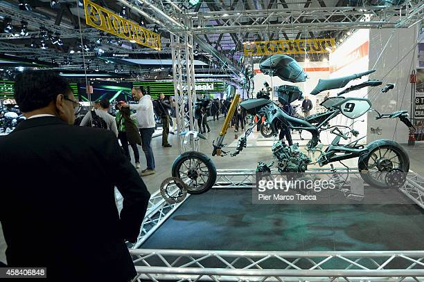 A motorbike is displayed during the EICMA 72th International Motorcycle Exhibition on November 4 2014 in Milan Italy
