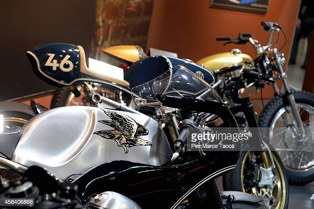 BMW motorbike is displayed during the EICMA 72th International Motorcycle Exhibition on November 4 2014 in Milan Italy