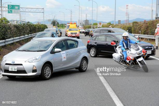 Motorbike police officer attends an emergency drill on Chuo Expressway on September 1 2017 in Tokyo Japan National disaster preparedness day was...