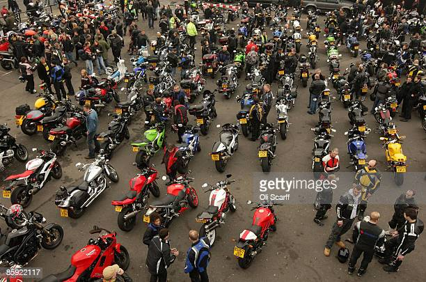 Motorbike riders gather at the Ace Cafe London for the annual 'Southend Shakedown' a mass motorbike ride from the iconic bikers cafe to Southend on...