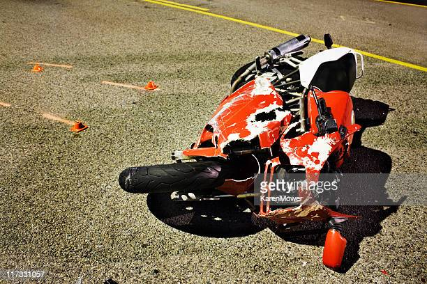 A motorbike that has been left after an accident