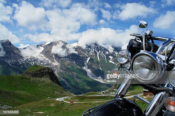 motorbike trip in the mountains - handlebar stock photos and pictures