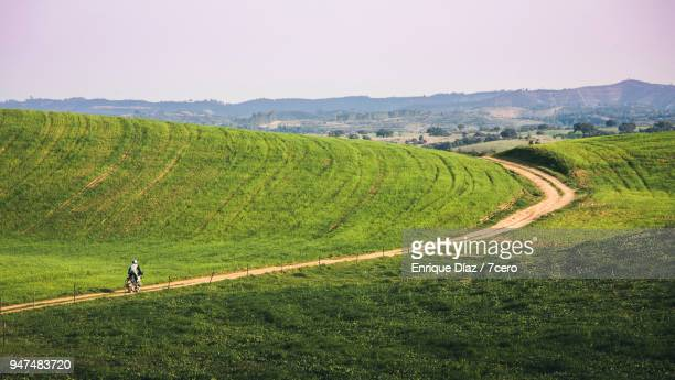 A motorbiker riding alone through the fields of the Alentejo. of inland Portugal