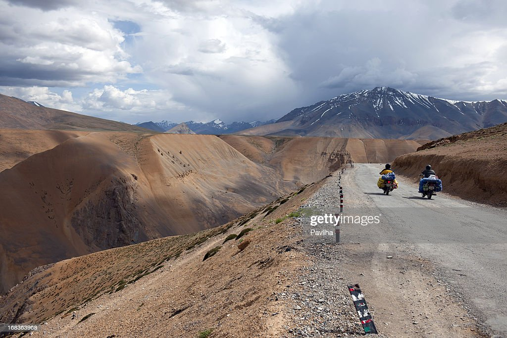 Motorbikers on Cloudy Day Plateau Mora India : Stock Photo