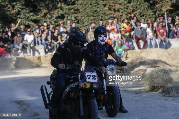 Motorbikers participate in Rotten Race with masks in Athens Greece on October 7 2018