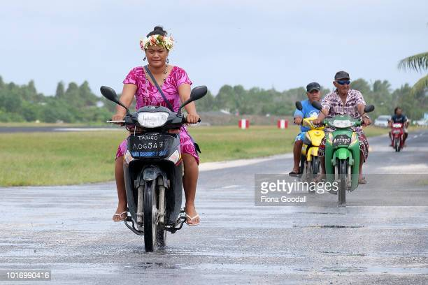 Motorbikes are the main mode of transport on the mainland on August 15 2018 in Funafuti Tuvalu The small South Pacific island nation of Tuvalu is...