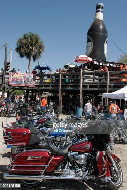 Motorbikes in front of the Iron Horse Saloon at Bike Week Daytona Beach