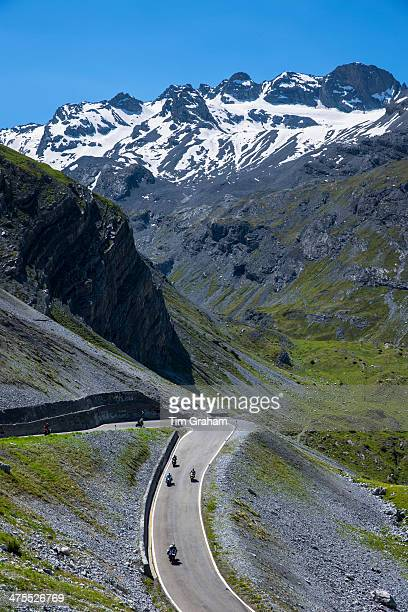 Motorbikes on Stelvio Pass in the Alps, Italy