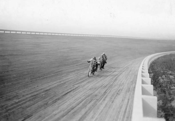 Motorbikes racing at Speedway Park, Maywood, Chicago, Illinois, USA, 1915.