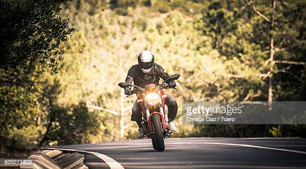 motorbiking in sintra - motorbike stock photos and pictures
