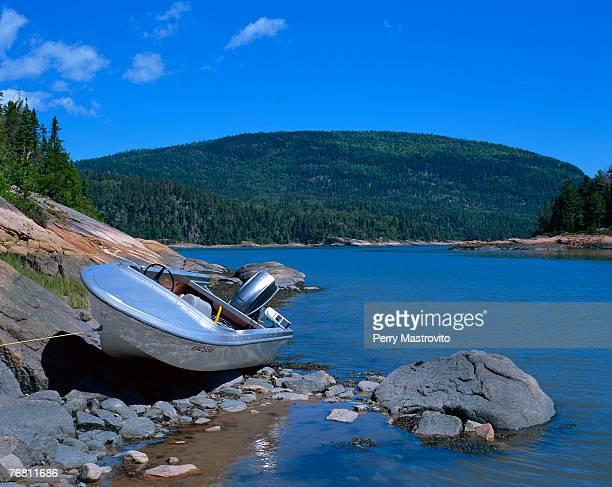 Motorboat, Baie-des-Rochers, Charlevoix, Quebec, Canada