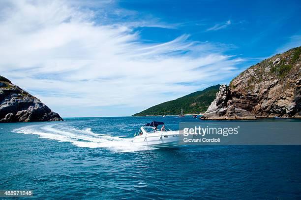 CONTENT] Motorboat crossing in Arraial do Cabo Rio de Janeiro Brazil