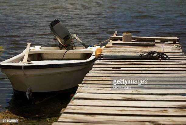 Motorboat moored at a pier, Providencia y Santa Catalina, San Andres y Providencia Department, Colombia