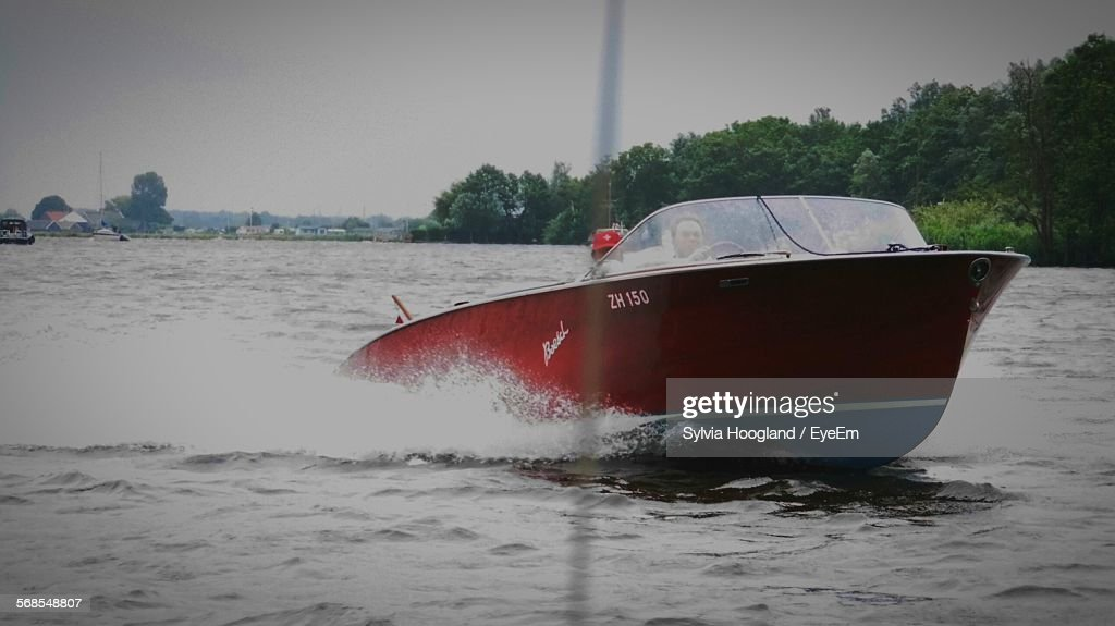 Motorboat Sailing In River : Stock Photo