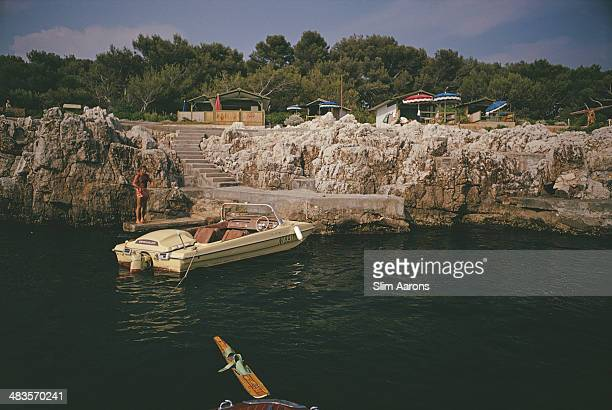 A motorboat used to tow waterskiiers moored at the Hotel du CapEdenRoc in Antibes on the French Riviera August 1969