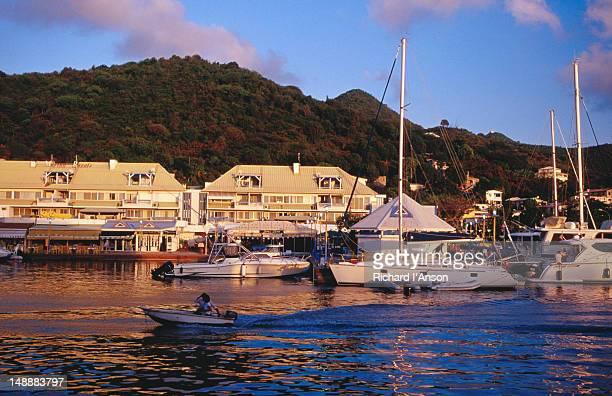 Motorboat & yachts moored at Royal Marina.