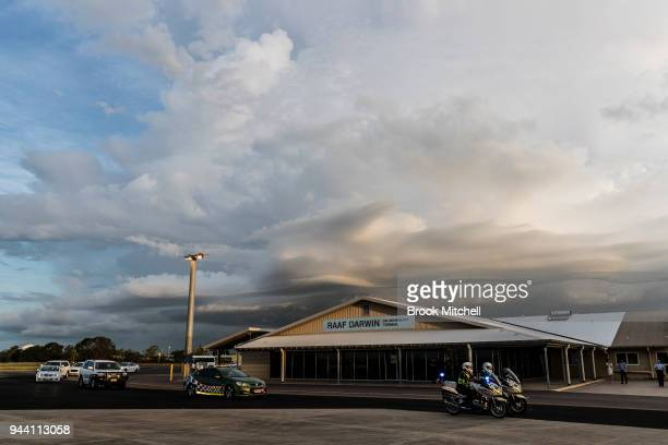 A motorcade carrying Prince Charles The Prince of Wales to his plane for departure arrives at the RAAF Military Base on April 10 2018 in Darwin...
