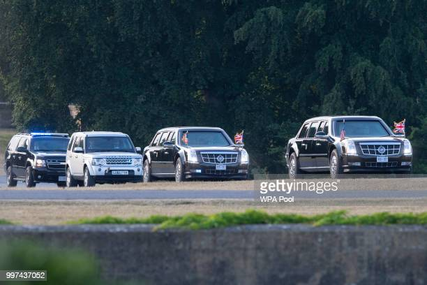 Motorcade carrying US President Donald Trump and First Lady Melania Trump lands ahead of a dinner with British Prime Minister Theresa May and Philip...