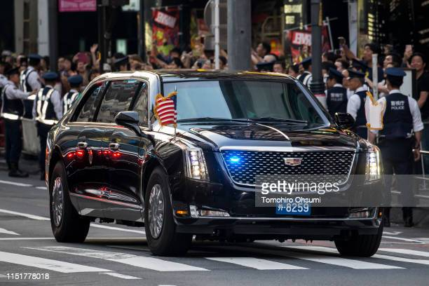 Motorcade carrying U.S. President Donald Trump, First Lady Melania Trump, Japan's Prime Minister Shinzo Abe and his wife Akie Abe arrives at a...