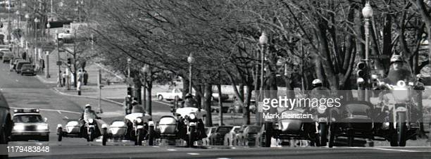 Motorcade with President Ronald Reagan on the way to the Russell Senate Office Building for the Republican congressional lunch Washington DC February...