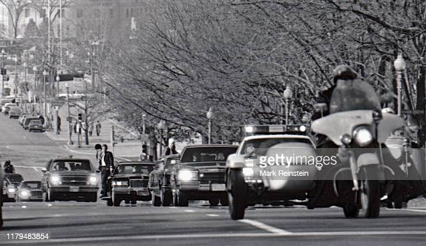 Motorcade with President Ronald Reagan on the way to the Russell Senate Office Building for the Republican congressional lunch, Washington DC,...