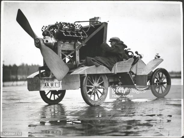 Motorcar fitted with aero propeller May 1911 at Brooklands racetrack