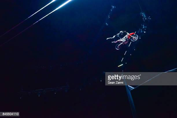 A motorcross rider on the runway at the Fenty Puma By Rihanna fashion show during New York fashion week at Park Avenue Armory on September 10 2017 in...